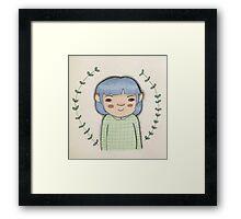 Blue hair cute girl leaves cartoon art Framed Print