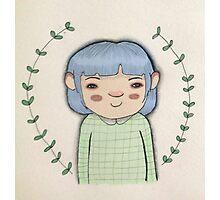 Blue hair cute girl leaves cartoon art Photographic Print