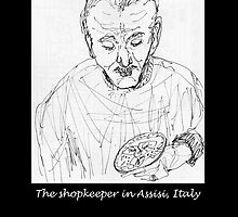 Italy, The shopkeeper in Assisi by James Lewis Hamilton