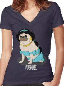 Pugmine! Women's Fitted V-Neck T-Shirt