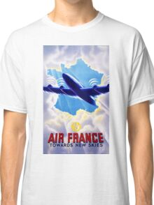 Air France Vintage Travel Poster Restored Classic T-Shirt