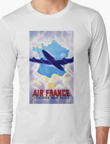 Air France Vintage Travel Poster Restored Long Sleeve T-Shirt