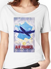 Air France Vintage Travel Poster Restored Women's Relaxed Fit T-Shirt