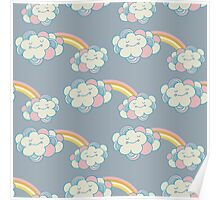 Vector seamless pattern with the clouds and rainbow Poster