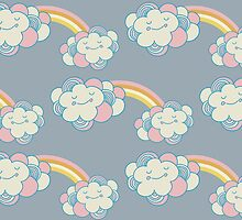 Vector seamless pattern with the clouds and rainbow by julkapulka