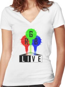 Live-RGB Women's Fitted V-Neck T-Shirt