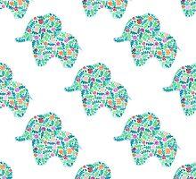 watercolor floral patterned elephant seamless pattern by julkapulka