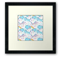 Vector seamless pattern with the unicorns, clouds and rainbow Framed Print