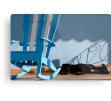 Sleeping dog & rocking chair, Cuba Metal Print