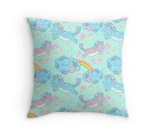 Vector seamless pattern with the unicorns, clouds and rainbow Throw Pillow
