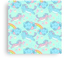Vector seamless pattern with the unicorns, clouds and rainbow Canvas Print