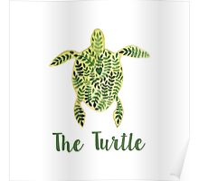 Patterned floral watercolor turtle illustration Poster