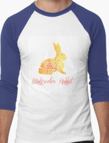 Patterned floral watercolor rabbit vector illustration Men's Baseball ¾ T-Shirt