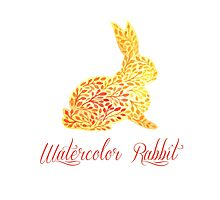 Patterned floral watercolor rabbit vector illustration Photographic Print