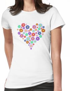 Heart flowers - white Womens Fitted T-Shirt