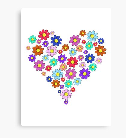 Heart flowers - white Canvas Print