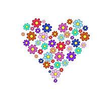 Heart flowers - white Photographic Print