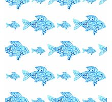 Fishes seamless watercolor background. Fish seamless pattern background vector illustration Photographic Print