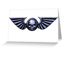 Imperial Skull and Wings Silver Greeting Card