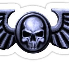 Imperial Skull and Wings Silver Sticker
