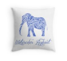 Patterned floral watercolor elephant  illustration Throw Pillow