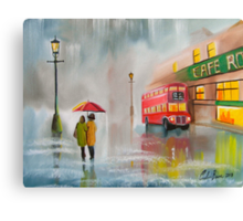 RED BUS UMBRELLA OIL PAINTING by Gordon bruce Canvas Print