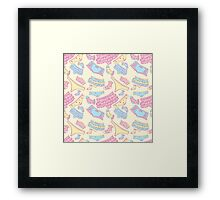 Underwear seamless pattern with other pants and socks. For web design and  other Framed Print