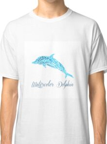 Patterned floral watercolor dolphin vector illustration Classic T-Shirt