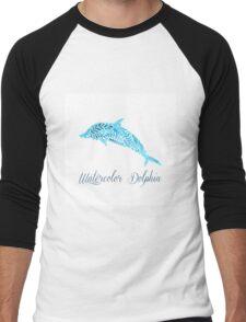 Patterned floral watercolor dolphin vector illustration Men's Baseball ¾ T-Shirt