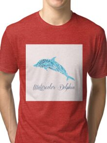 Patterned floral watercolor dolphin vector illustration Tri-blend T-Shirt