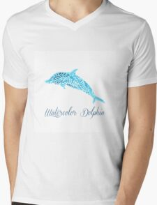 Patterned floral watercolor dolphin vector illustration Mens V-Neck T-Shirt