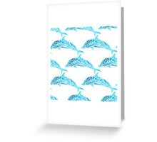 Dolphins seamless watercolor background. Dolphin seamless pattern background vector illustration Greeting Card