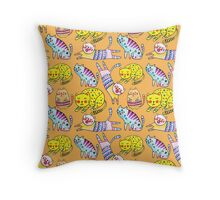 Watercolor vector seamless pattern with the other bright cats.  Throw Pillow