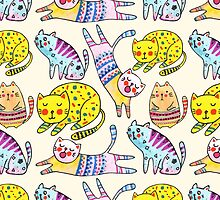 Watercolor vector seamless pattern with the other bright cats.  by julkapulka
