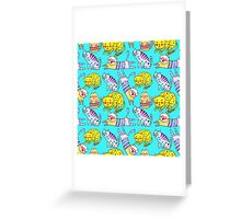 Watercolor  seamless pattern with the other bright cats.  Greeting Card