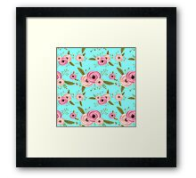 Vector seamless pattern with roses Framed Print