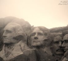 Mount Rushmore in Sepia by rocamiadesign