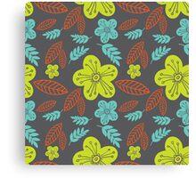 Summer flowers seamless vector pattern Canvas Print