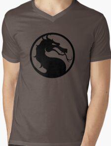 Mortal Kombat - Black Logo Mens V-Neck T-Shirt