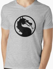 Mortal Kombat - Black Logo Mens V-Neck T-Shirt