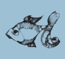 digital fish with blue bg Kids Clothes
