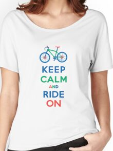 Keep Calm and Ride On - mountain bike - primary Women's Relaxed Fit T-Shirt