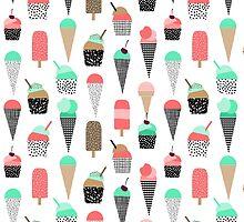 Ice Cream - Summer fresh modern minimal print pattern design gifts for college  by charlottewinter
