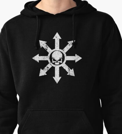 Mark of Chaos Distressed White Pullover Hoodie
