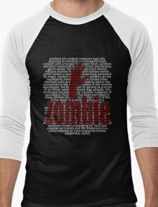 Zombie Hand and word Zombie in Picture'Of'Text style Men's Baseball ¾ T-Shirt