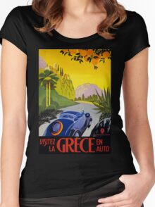 Greece Vintage Travel Poster Restored Women's Fitted Scoop T-Shirt