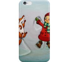 Snow Angels (Fox and Girl) iPhone Case/Skin