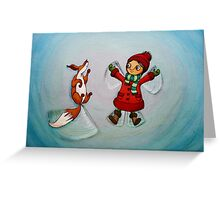 Snow Angels (Fox and Girl) Greeting Card