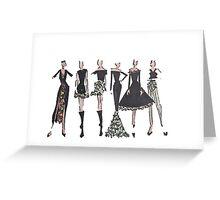 Black and emerald girls Greeting Card
