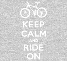 Keep Calm and Ride On mountain bike white fonts Kids Clothes